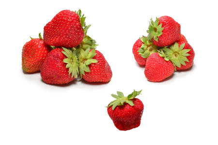 Strawberry. Fresh berries macro. Isolated on white. Top view.