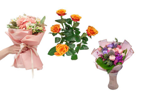 Bouquet of soft pink flowers in pink wrapping paper. Imagens
