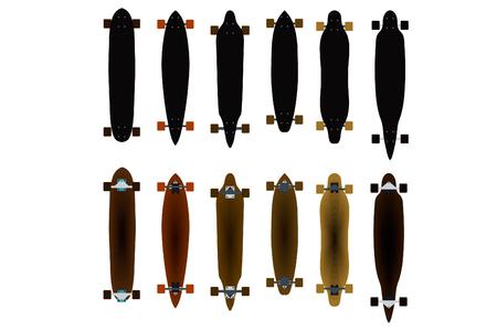 skateboard park: ilustraci�n pat�n .longboard ilustraciones. consejo para el esqu�. Vectores