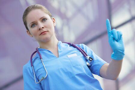 medical gloves: female doctor in medical gloves Stock Photo