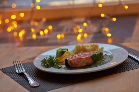 salmon steak: salmon steak with vegetables