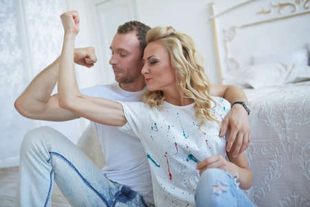 loving couple in a bright room