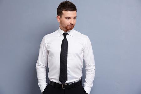 tie necktie: businessman in white shirt Stock Photo