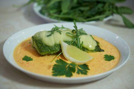 halibut: halibut with lemon and arugula