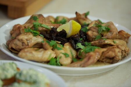 prunes: chicken with prunes and lemon greens