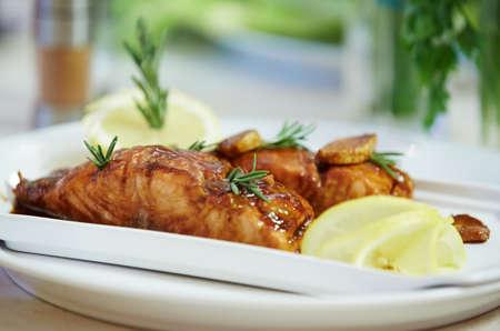 teriyaki: salmon with teriyaki sauce Stock Photo