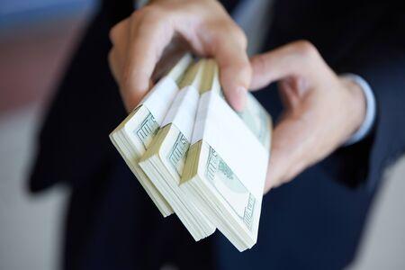 closeup money in male hands Archivio Fotografico