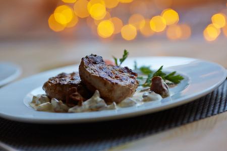 fish dinner: hot appetizer Stock Photo