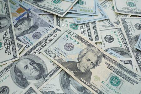 usd: banknotes to twenty and one hundred USD Stock Photo