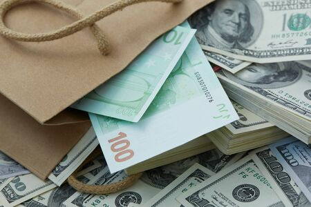 mucho dinero: a lot of money out of a paper bag. dollars and euros