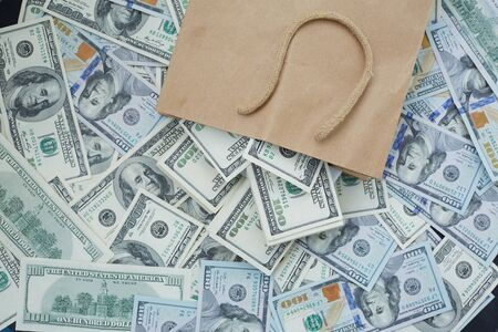 much money out of a paper bag Stock Photo