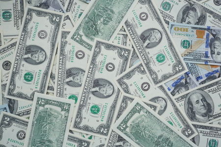 usd: banknotes to two and one hundred USD Stock Photo