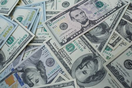 usd: banknotes to five and one hundred USD Stock Photo