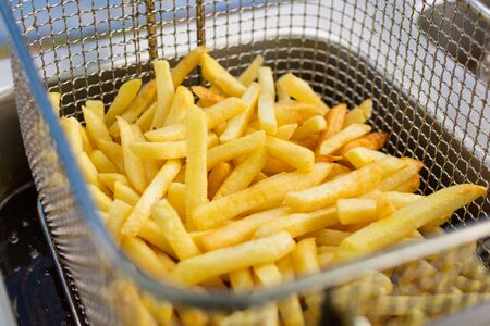 russet potato: cooking french fries Stock Photo