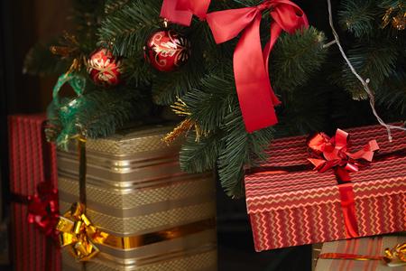 christmas tree presents: presents under the Christmas tree Stock Photo