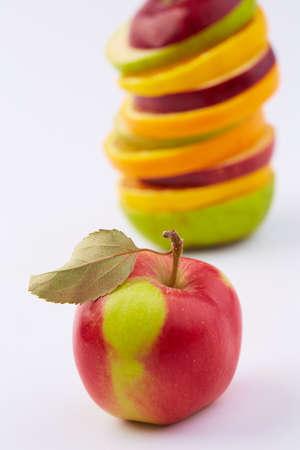 cut: cut fruits and apple