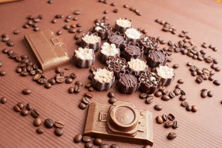 cafe bombon: chocolate candies and coffee beans
