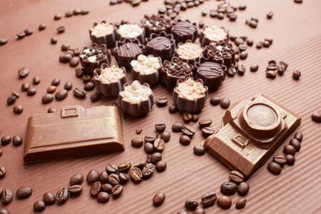 cafe bombon: dulces de chocolate y granos de café