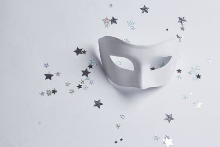black mask: white venetian mask on a white background Stock Photo