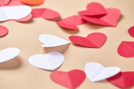 paper heart: paper hearts on Valentines Day Stock Photo
