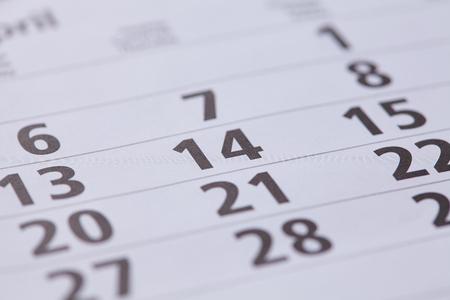 february 14: February 14 on the calendar Stock Photo