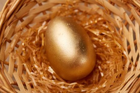 golden egg: golden egg in a basket Stock Photo