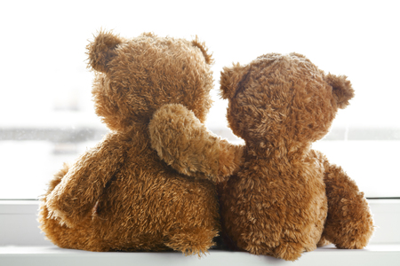 Two teddy bears sitting back