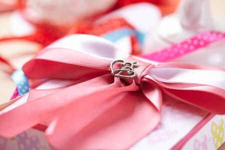 pink bow: beautiful pink bow and hearts couple
