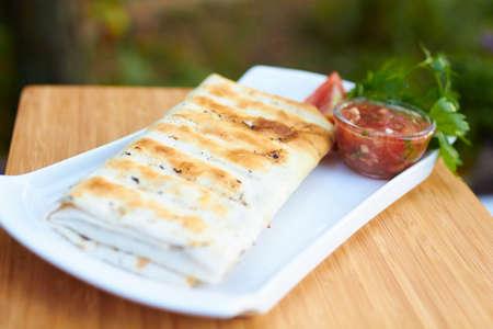 pita: dish in pita bread on nature