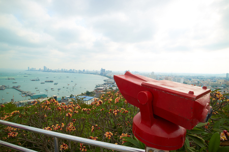 lookout: lookout with binoculars in Thailand Stock Photo