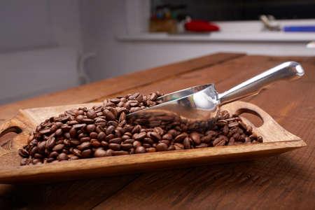 golden bean: coffee beans on a platter