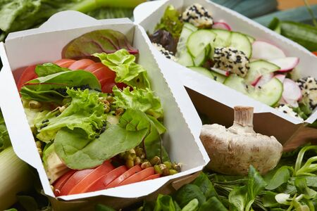 vegetarian vegan vegetable dish, fresh herbs in a cardboard box