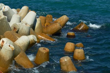 tetrapoden aan de Zwarte Zee Stockfoto