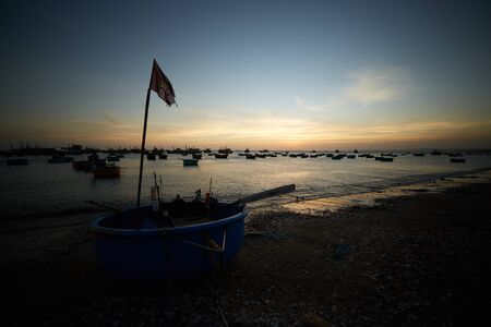 ne: fishing boats on the shore in Vietnam Stock Photo