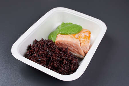 red fish with black rice green pear