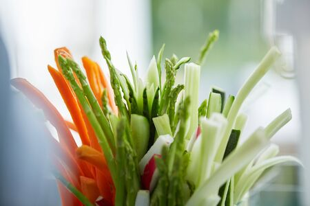 appetizer of fresh cucumbers, carrots, asparagus Archivio Fotografico
