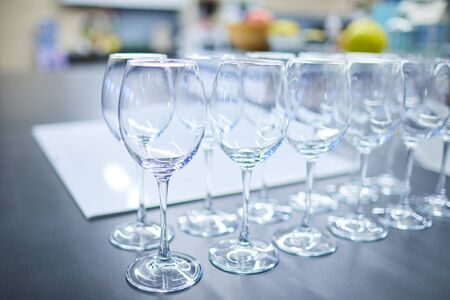 set of wine glasses on a buffet