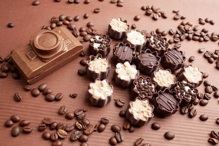 chocolate candies and coffee beans