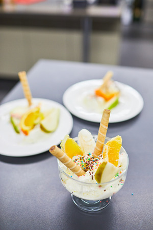 ice cream with wafer rolls