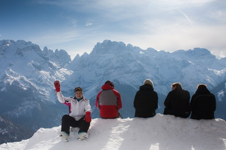 Vacation in the mountains. Ski resort Madonna di Campiglio. Italy