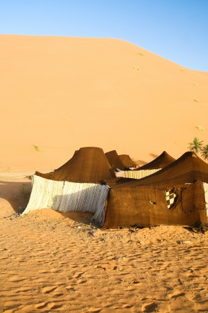 Tourist shelter in the Sahara. Morocco