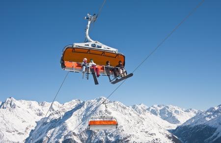Chair ski lift. Solden. Austria Stock Photo