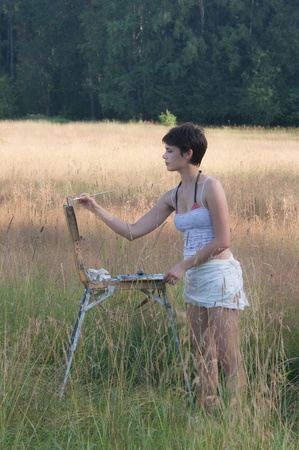 Painter-girl en plein air
