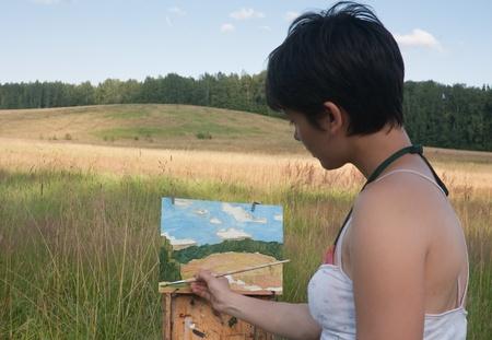 Painter-girl en plein air