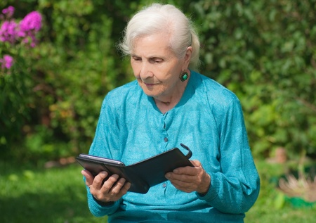 A grandmother with an e-book photo