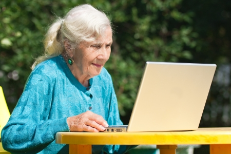 The grandmother with notebook