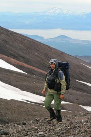 vulcano: The Tourist is ascent on vulcano. Kamchatka