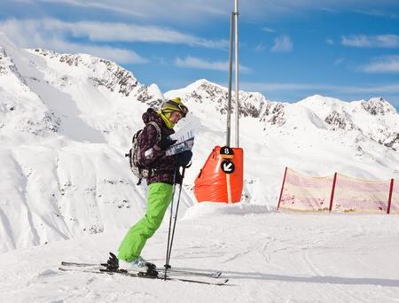 considers: Skier considers the skier slopes.  Ski resort  Obergurgl. Austria