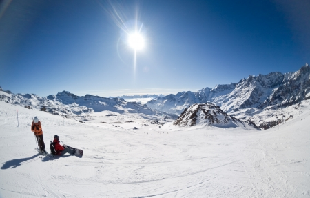 Skigebied van Cervinia, Italië Stockfoto