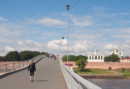 Humpbacked footbridge over the River Volkhov. Novgorod the Great. Russia Stock Photo - 11848535